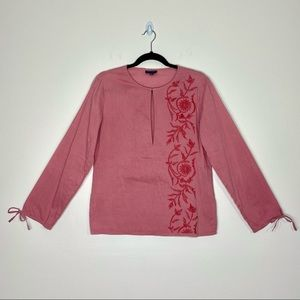 Antik Batik Blush Pink Embroidered Top Size Small